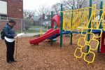 A community volunteer checks out the playground at Bow Elementary school. Excellent Schools Detroit, a Detroit-based nonprofit, rates all schools and preschool programs in the city based on test scores and unscheduled volunteer visits. (Photo: Sarah Butrymowicz)