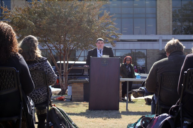 Conor Bell, a student at Delta State University in Cleveland, Mississippi, speaks at a mock funeral to protest the university's decision to eliminate several academic programs. (Photo: Jackie Mader/The Hechinger Report)