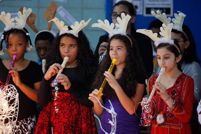 Quitman students perform at a winter concert. Music classes at the school this year are incorporating reading and math instruction. (Amanda Brown / NJ Spotlight)