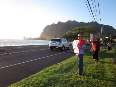Teachers at Ka'a'awa Elementary School on Oahu drum up public support for their contract negotiations with Gov. Neil Abercrombie, a Democrat. (Photo by Sarah Butrymowicz)