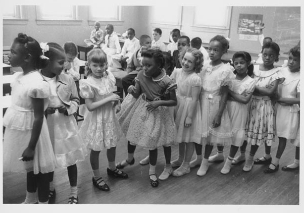 Students at Barnard Elementary School in Washington, D.C., one of the first schools to desegregate after Brown. (Library of Congress)