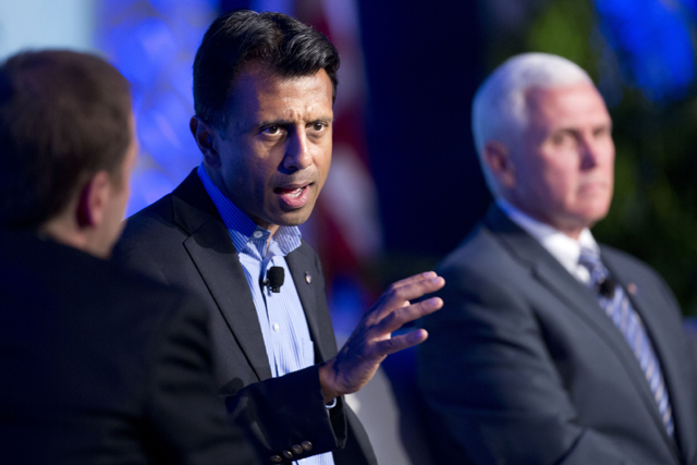 This Nov. 19, 2014, file photo shows Louisiana Gov. Bobby Jindal as he speaks at the Republican Governors Association annual conference in Boca Raton, Fla. The conference felt like a test run for what is increasingly shaping up as a brutal showdown for the Republican presidential nomination among more than a dozen potential contenders. (AP Photo/J Pat Carter, File)