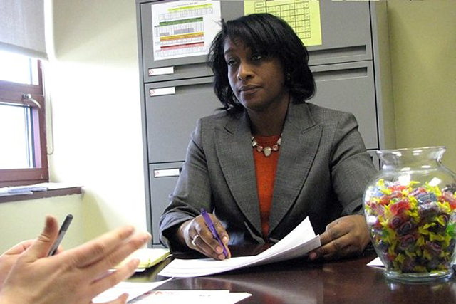 Brennan-Rogers Principal Karen Lott, conducting a teacher evaluation in 2011, faced numerous complications in rolling out a nearly eight-hour school day for students. (Melissa Bailey / New Haven Independent photo)