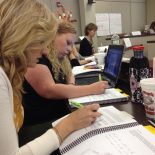 Lori Smith (left) and Heather Hobbs (right), two teacher leaders in the Kingsport City Schools district, participate in a Common Core training session in Kingsport, Tenn.