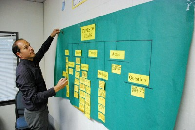 Long Beach teacher and writing coach Jeff Lamperts posts a Thinking Map that charts elements of a story. (Photo by Stephen Smith)