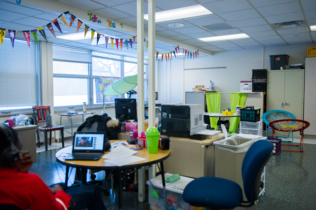 A student watches a video in Robbinsdale Middle School's PRIDE room, a space started this year for students being disciplined, who would have received out-of-school suspensions last year. (Photo: Kim Palmer)