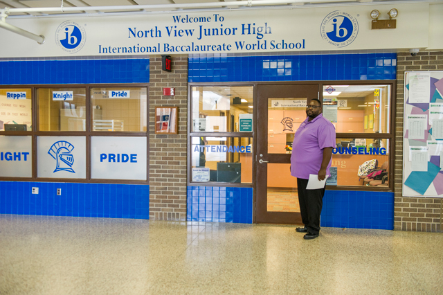 Assistant Principal Jamil Payton has taken charge of the ban on suspensions for non-violent behavior, like talking back in class, at North View Junior High in the Osseo School District. (Photo: Kim Palmer)