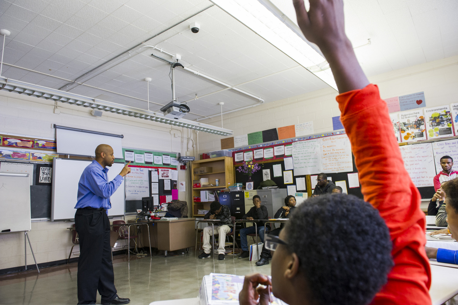 Walker often finds himself in classrooms, comforting and counseling outraged students in the wake of growing outrage over the killings of unarmed black men in Ferguson, Missouri and New York. (Photo by Kim Palmer)