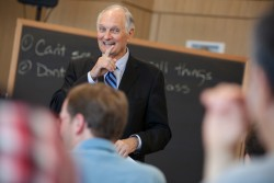 Alan Alda meets with students at Cornell University. The actor and director, who once hosted a television science program, has become an advocate for helping academics communicate more clearly with the public. Photo: Lindsay France/Cornell University Photography