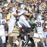 North Carolina linebacker Jeff Schoettmer (10) celebrates interception return for touchdown during NCAA Football game action between the Notre Dame Fighting Irish and the North Carolina Tar Heels at Notre Dame Stadium in South Bend, Indiana. Notre Dame defeated North Carolina 50-43 (Cal Sport Media via AP Images)