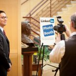 The LinkedIn photo booth in the Wake Forest career office. (Photo courtesy Wake Forest University)